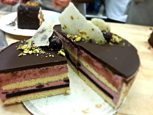 Dark cherry and pistachio entremet cake by pipsyq