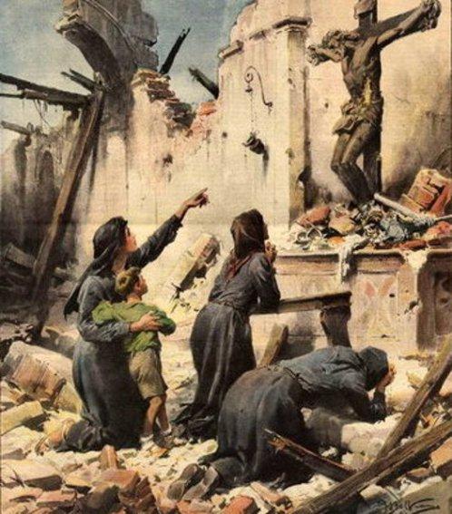 Cristo ferito dalle bombe