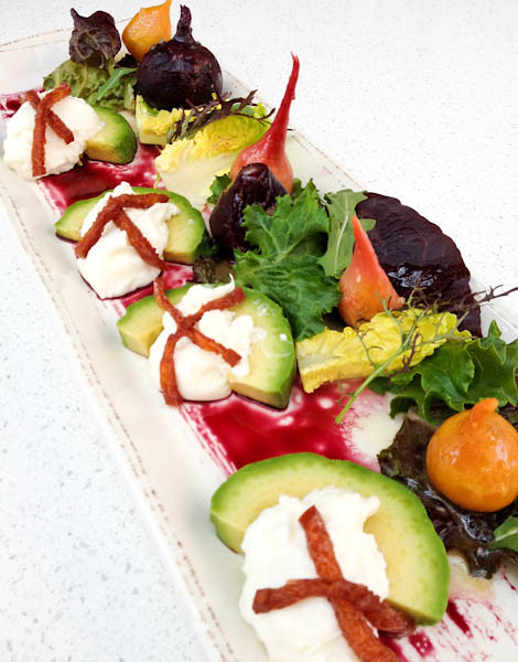 Salt Roasted Garden Beets w/ Burrata, Avocado, Mandarin Aigre-Doux and Chard, Provenance