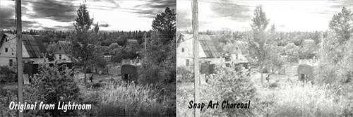 Original image and Snap Art Charcoal image