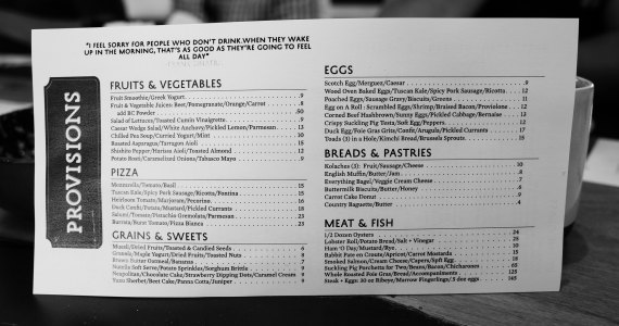 Provisons - Brunch Menu