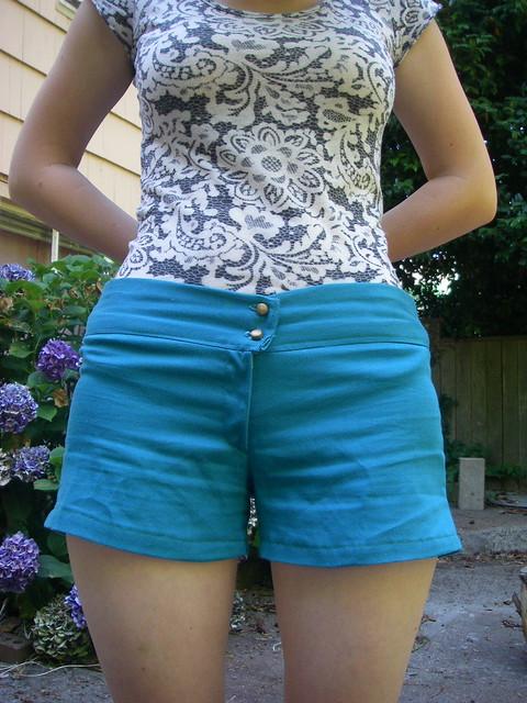 teal shorts