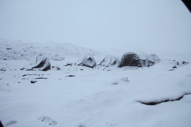 View from the tent upon waking up on my birthday. South Inylchek Glacier Trek