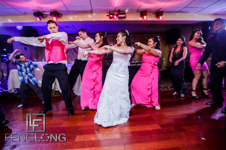 Wedding party dancing during reception