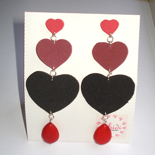 Love Orecchini in Moosgummi rosso, bordeaux, nero idea regalo San Valentino by bibidicreazioni