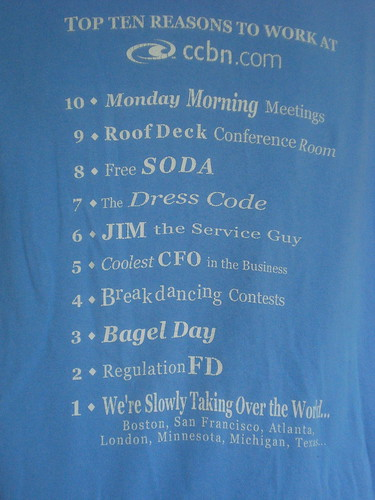 CCBN top ten reasons to work here t-shirt