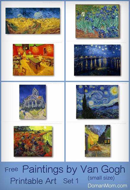Van Gogh Paintings Printable Flash Cards Set 1