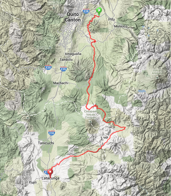 Map - Tumbaco to Latacunga