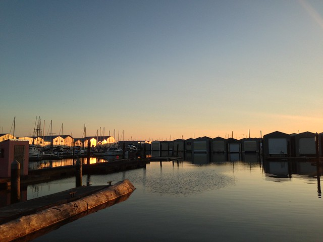 Golden glow over the boat houses