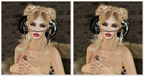 22769 - accessories - Ram Antlers Metal - Black&White Pearls by Tigist Sapphire