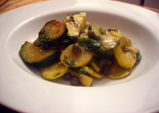 "Zucchine con acciughe e capperi (""zucchini with anchovy and capers"")"