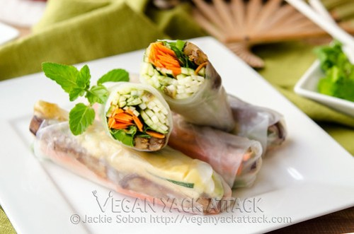 A light recipe for Grilled Eggplant Spring Rolls, filled with crunchy zucchini, fresh herbs and more! Plus, a tasty peanut butter dipping sauce.