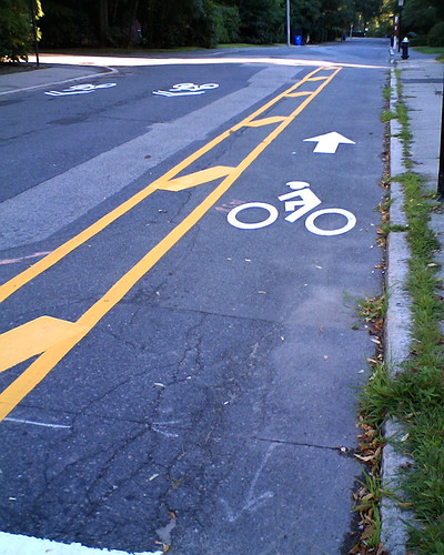 Cycle track in Brookline