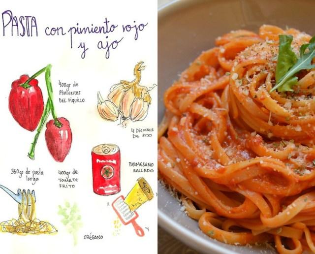 Pasta con pimiento rojo y ajo