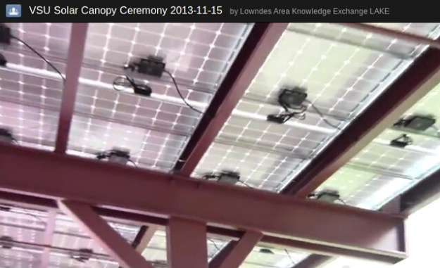 Solar canopy with microinverters