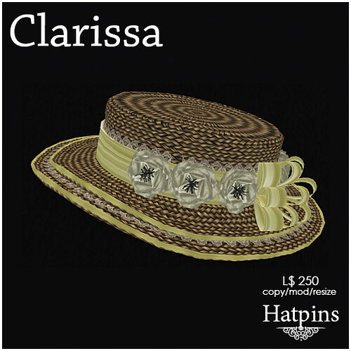 Hatpins - Clarissa Hat - Lemon Yellow and Cream
