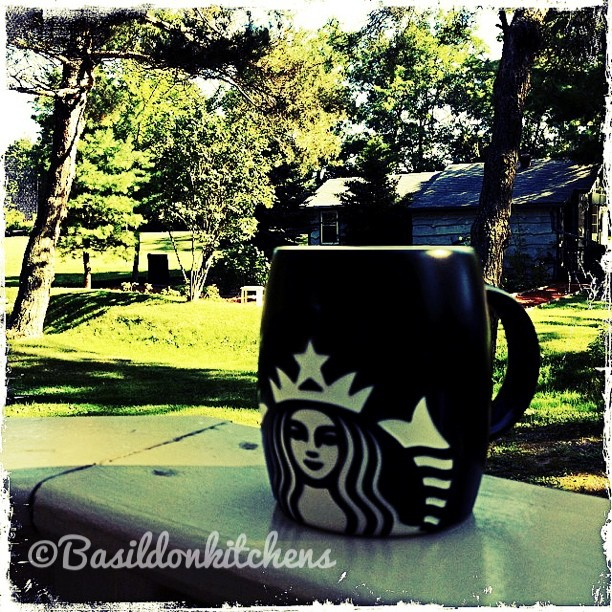 Sep 1 - a taste {nothing is as good as that first sip of freshly made coffee. This one is enhanced by a beautiful sunny late summer morning on my porch} #photoaday #coffee #starbucks #mug #garden #sunshine #morning #princeedwardcounty