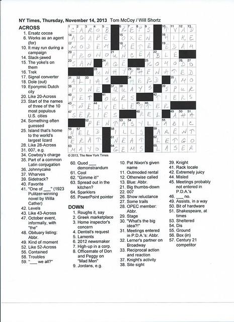 NYT Thursday Puzzles - November 14, 2013