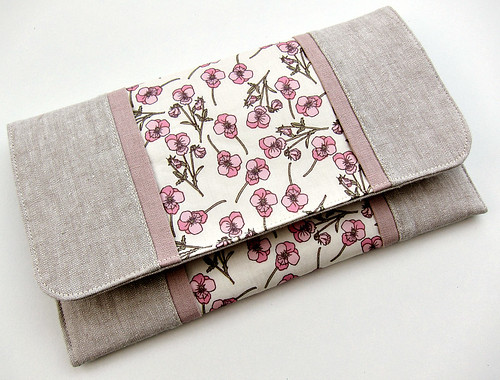 Clutch bag with linen and Liberty