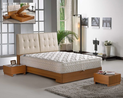 掀床工廠推薦款-多莉人造柚木床台-高質感掀床床架組1