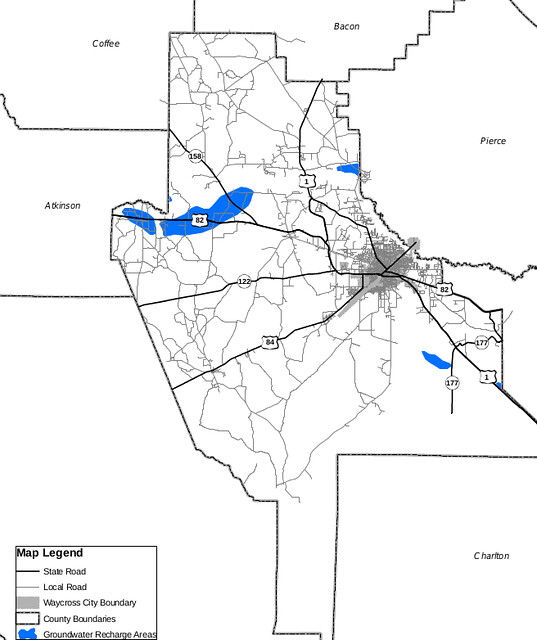 Recharge zones, Ware County, Georgia, Floridan Aquifer