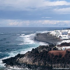 #white #villages along the #black #cliffs of #lanzarote #waves #ocean #landscape #vsco #vscocam #wanderlust #travel #travelgram #españa #guardiantravelsnaps #clouds