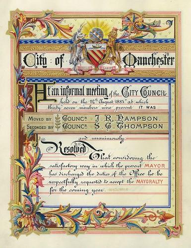 Resolution of Sir John J. Harwood's mayorality, 1884