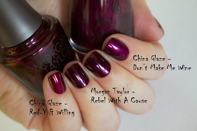 10 Morgan Taylor Rebel With A Cause comparison vs China Glaze