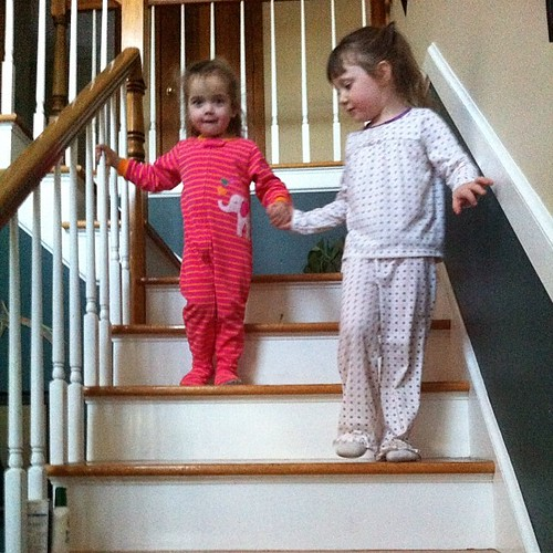 Ash didn't want me to help her down the stairs, but her big sister! by lisa_sff