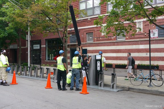 Damen/Pierce Divvy station being installed
