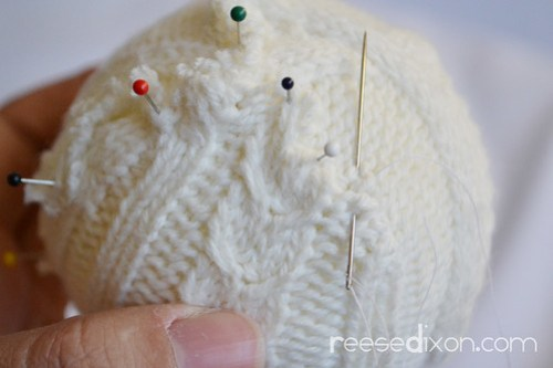 Sweater Ball Ornament Tutorial Step 4