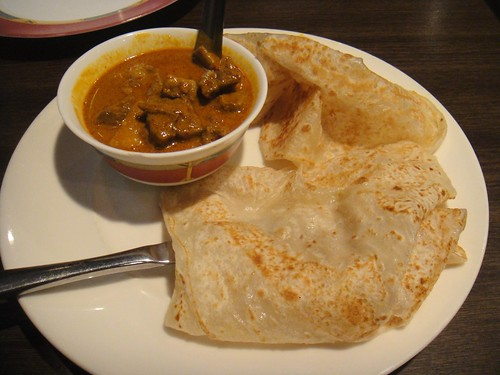 roti canai and curry mutton