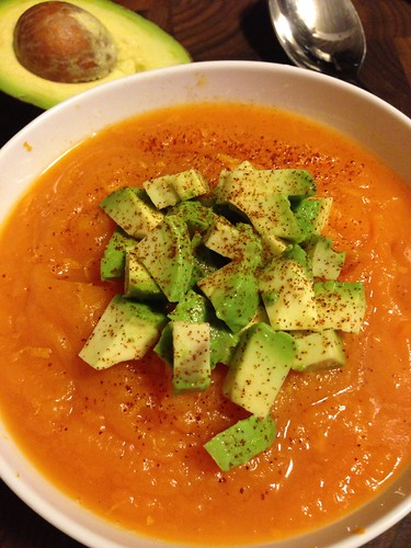 Spicy sweet potato soup on twothirtyate.com