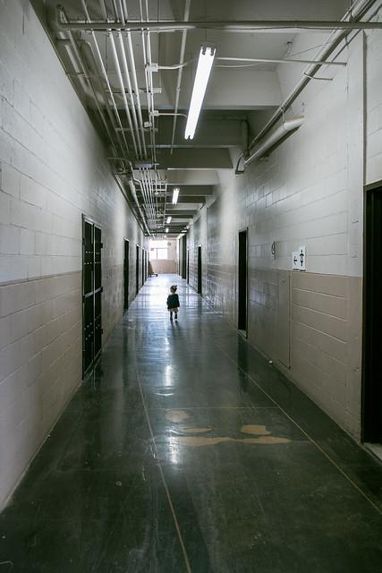 Little girl in corridor