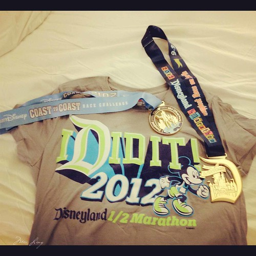My I did it shirt with my two half marathon medals