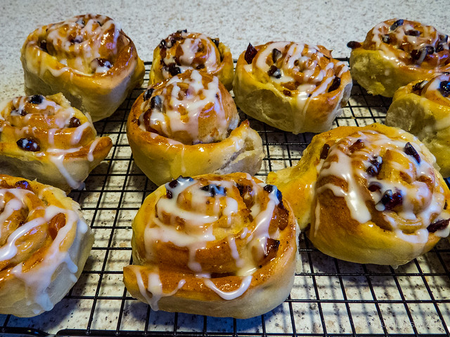 Chelsea Buns waiting to be eaten