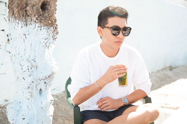 Bryanboy drinking mint tea at Cafe Hafa, Tangier, Morocco