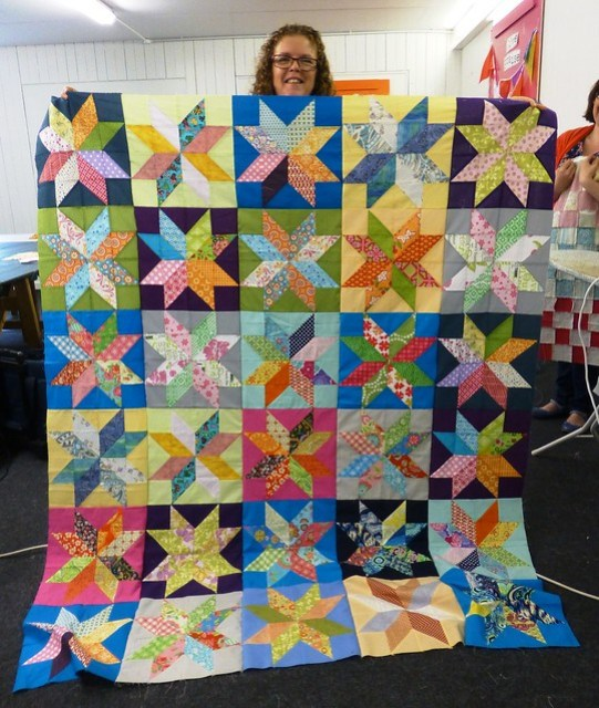 Bee Blessed Starflower quilt top