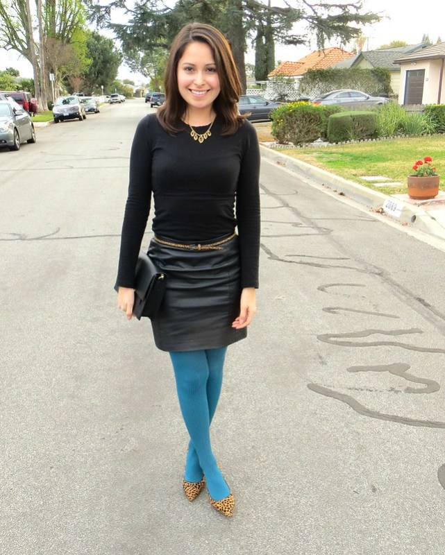 Gold Polka Dots - leather skirt and teal tights 6