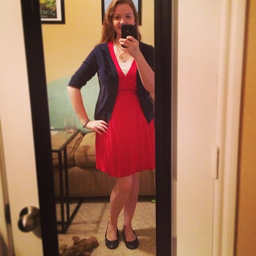 Thursday new-work #ootd - Wrap dress: ON; Cardigan and tank: Target