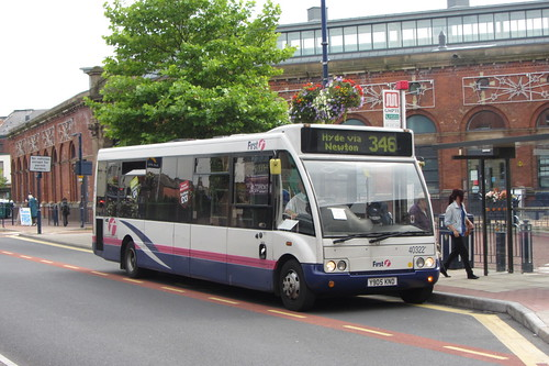 First Greater Manchester Optare Solo, Y905 KND, outside Ashton-under-Lyne Market Hall