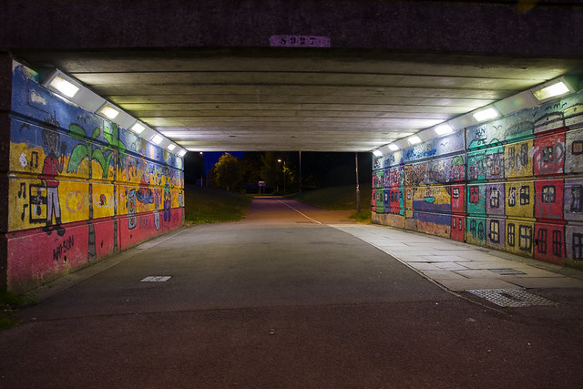 Stevenage underpass at night