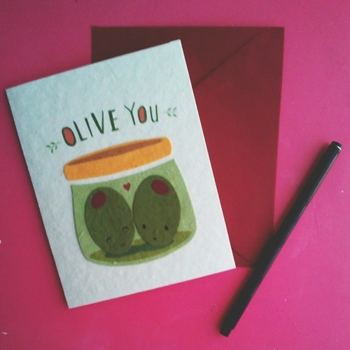 Happy Valentine's Day! #oliveyou #valentine #valentinesday #valentinesday2014 #love #handwritten #letters #love #olives #loveletter #card #pink #pinkandgreen