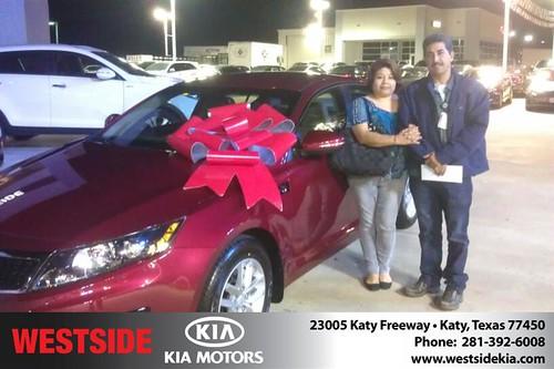 Thank you to Felipe Gutierrez on your new 2013 #Kia #Optima from Orlando Baez and everyone at Westside Kia! #NewCar by Westside KIA