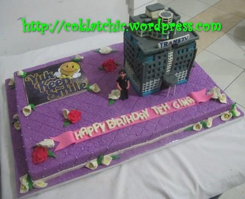 Cake Gedung Trans 7 dan Yuk keep Smile logo
