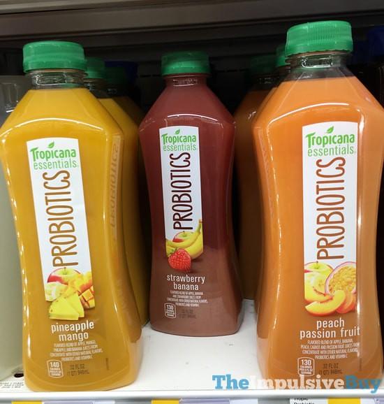 Tropicana Essentials Probiotics (Pineapple Mango, Strawberry Banana, and Peach Passion Fruit)