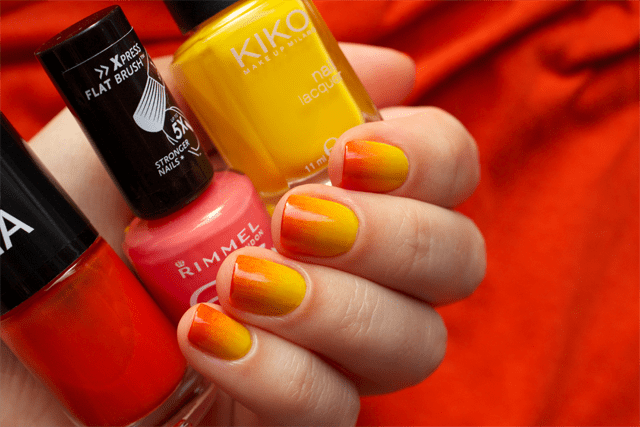 05 gradient nails kiko 279 yellow + rimmel instyle coral + colorama 155