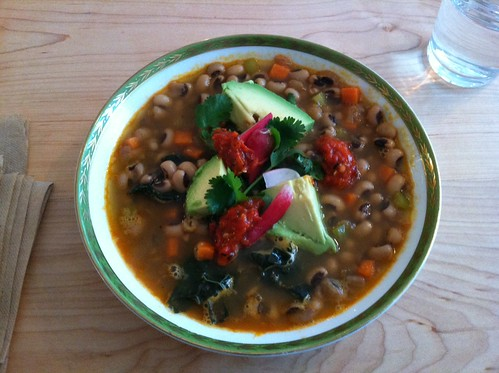 Black eyed pea kale soup at the Juicebox