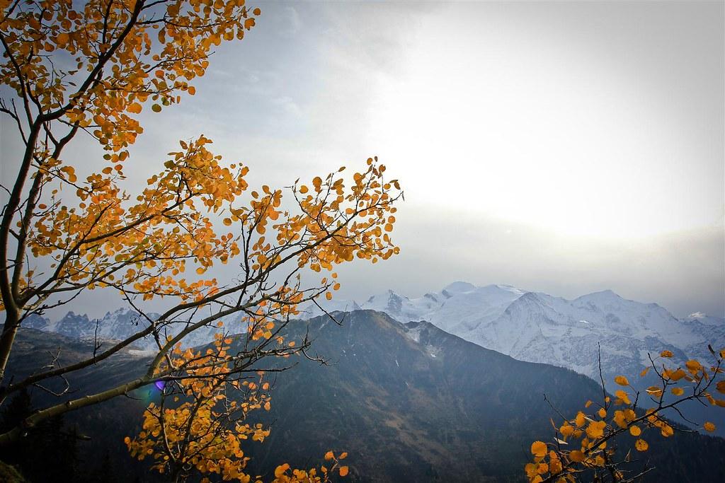 Autumn glow. Icy Mont Blanc (4810m). Haute-Savoie. France.