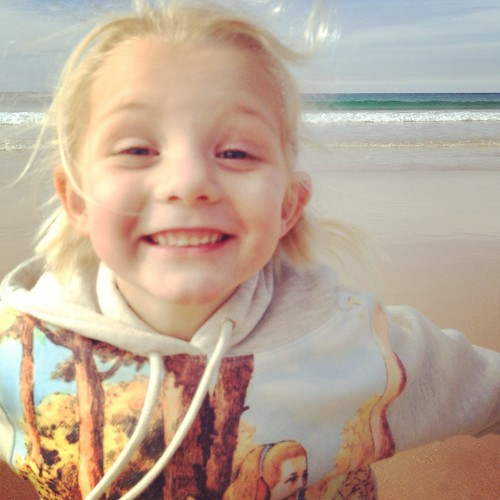 Happy Alice at the beach.